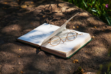 Reading book and spectacles