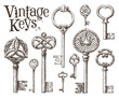 retro key vector logo design template. antiques or old thing - 81556293