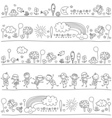 pattern  with cute kids and nature elements