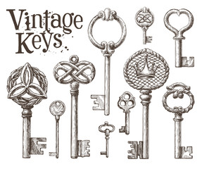 retro key vector logo design template. antiques or old thing