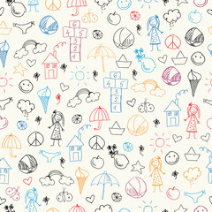 Summer doodles. Seamless pattern