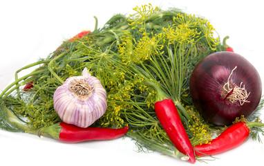 fennel, red pepper, red onion, garlic