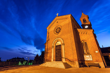 Parish church early in the morning in small italian town.