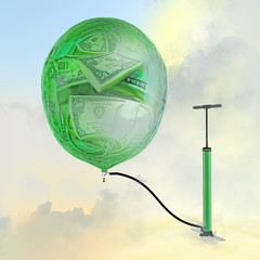 The pump, the balloon with the image of money. Inflating money.