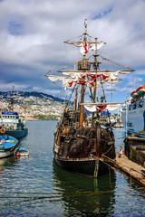 Vintage vessel Santa Maria da Colombo in port of Funchal, Portug
