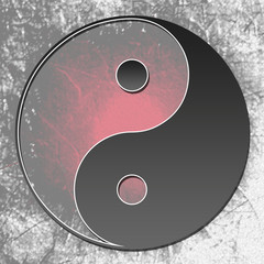 Yin Yang Symbol Red Grunge Background