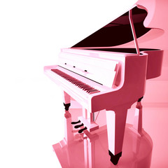 Pink grand piano on a white background.
