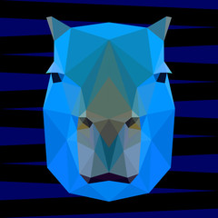 Abstract bright polygonal geometric capybara portrait for design