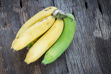 Bananas on wooden table