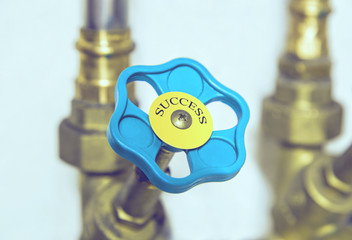 Water pipe valve. Creative success concept. (toned, filtered)