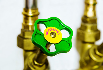 Water pipe valve close up. Unusual Motivation concept.