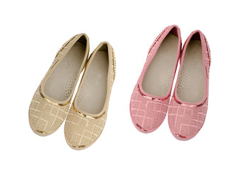 Pink and beige shoes for girls isolated on white background