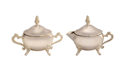 Set of antique teapots on white background