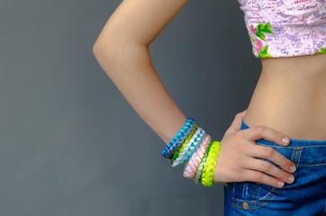 "Trendy ""braided bracelets"" youth on girl's hand"