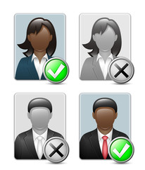 Avatars of black male and female. Vector
