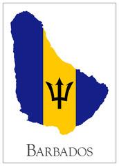 Barbados flag map