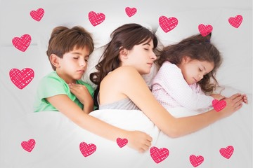Composite image of mother asleep with her children