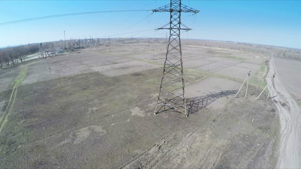 Aerial survey - flying over power lines