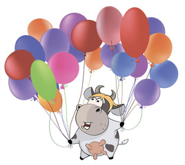 A small cow and multicolored balloons.. Cartoon