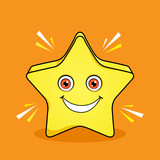 Shinning Star Mascot Cartoon Vector Design