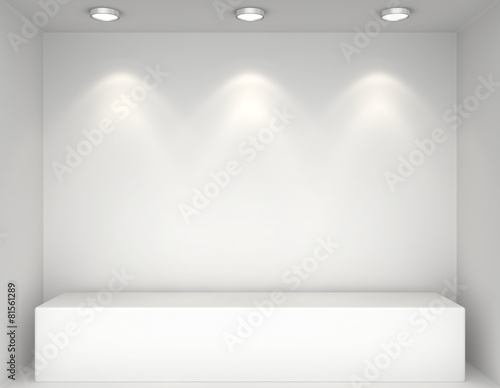 Showcase with lights and podiums for samples product - 81561289