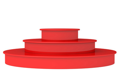 Blank Red podium. 3d render on a white background