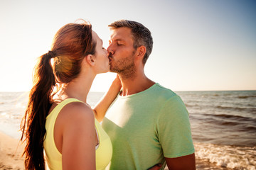 kissing summer couple