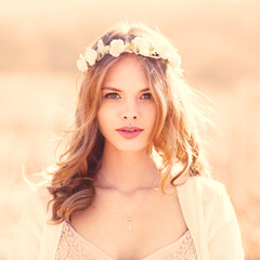 portrait of a beautiful young girl in the spring