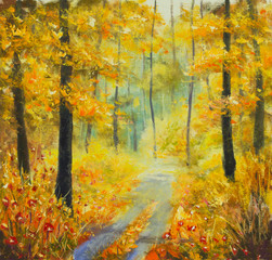 Original oil painting Road in the autumn forest.