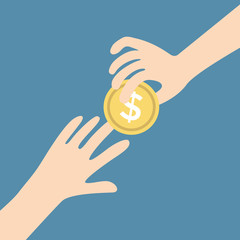 Two vector hands, giving money