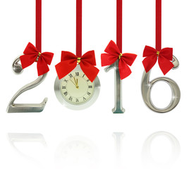 2016 number ornaments with clock hanging on red ribbons