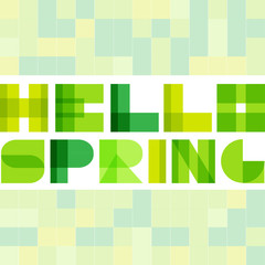 Modern simple rectangle colorised letters. Hello spring concept