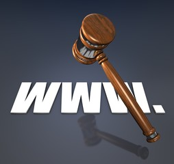 www-right, hammer and www symbol