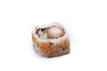 spicy ebi maki sushi isolated on white background