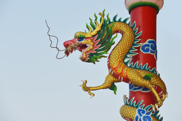 Dragon wrapped around the pole in Chinese temple
