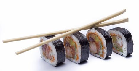 futo maki sushi with chop sticks isolated on white background