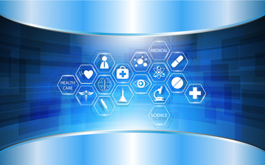 abstract medical concept background and glossy shiny frame