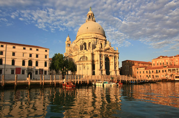 Venetian morning and old cathedral near Grand canal