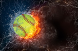 Baseball ball in fire and water - 81565298