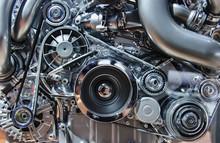 "Постер, картина, фотообои ""Car engine, concept of motor with metal, chrome, plastic parts"""