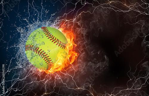 Leinwandbild Motiv Baseball ball in fire and water