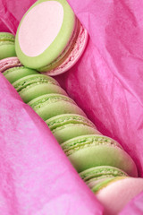 Macarons close-up in a box