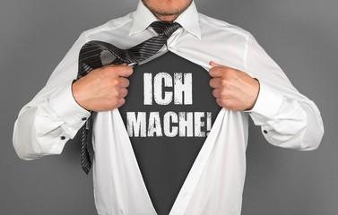 """Selbstmotivation Konzept - """"Ich mache!"""" - Text auf T-Shirt"""