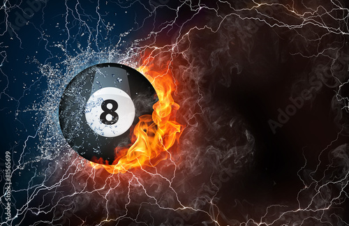 Billiard ball in fire and water - 81565699