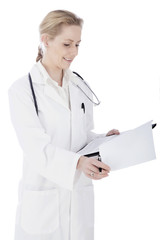 Happy Woman Doctor Reviewing Medical Findings