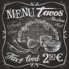 Mexican food logo design template. tacos, burritos or menu board