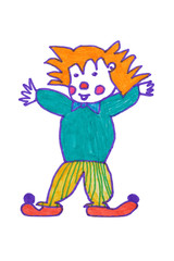 Children's drawing of clown