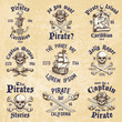 Set of vintage hand drawn pirates designed emblems - 81566618