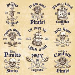 Set of vintage hand drawn pirates designed emblems