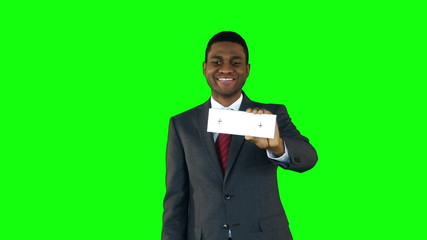 Businessman showing cards